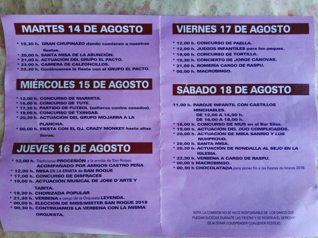 Programa de fiestas de Islares San roque 2018