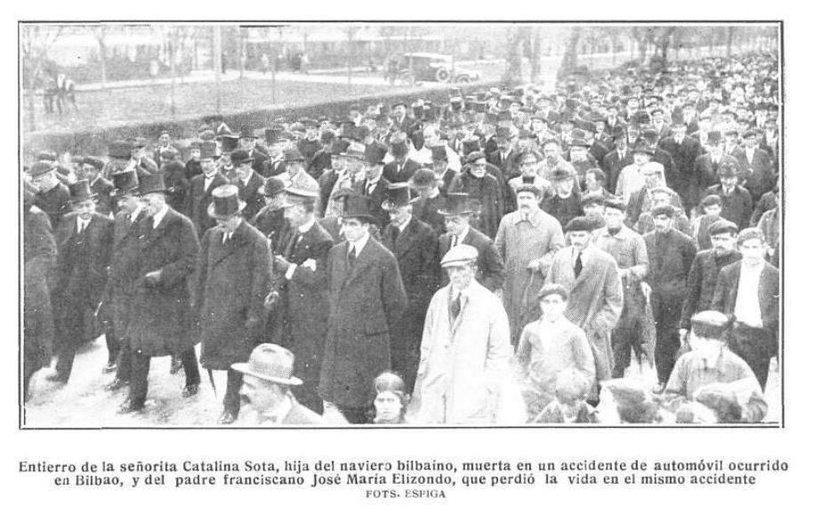 MANIFESTACIONES DE DUELO. EL ENTIERRO DE LA SEÑORITA CATALINA SOTA EN BILBAO